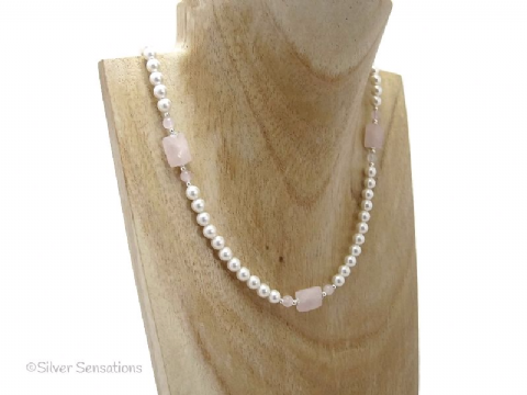 Faceted Baby Pink Rose Quartz, White Swarovski Pearls & Sterling Silver Wedding Necklace